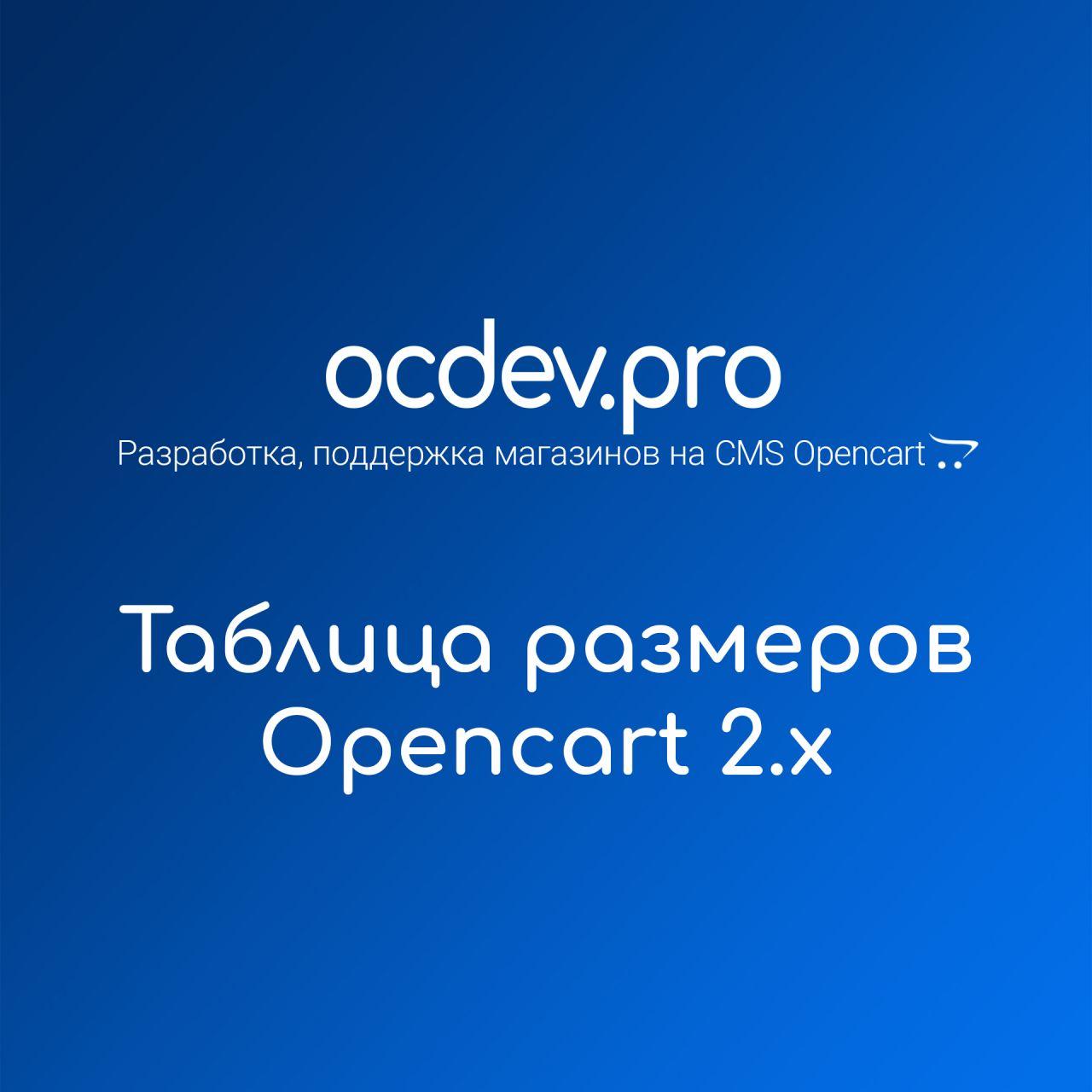 OCDEV.pro - Таблица размеров Opencart 2.x из категории Модули для CMS OpenCart (ОпенКарт)