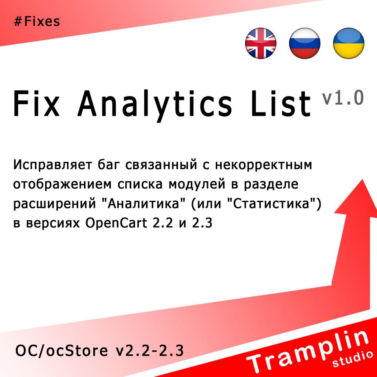 TS Fix Analytics List из категории Админка для CMS OpenCart (ОпенКарт)