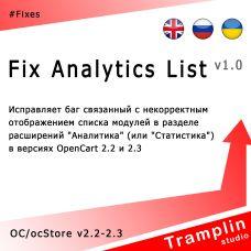 TS Fix Analytics List
