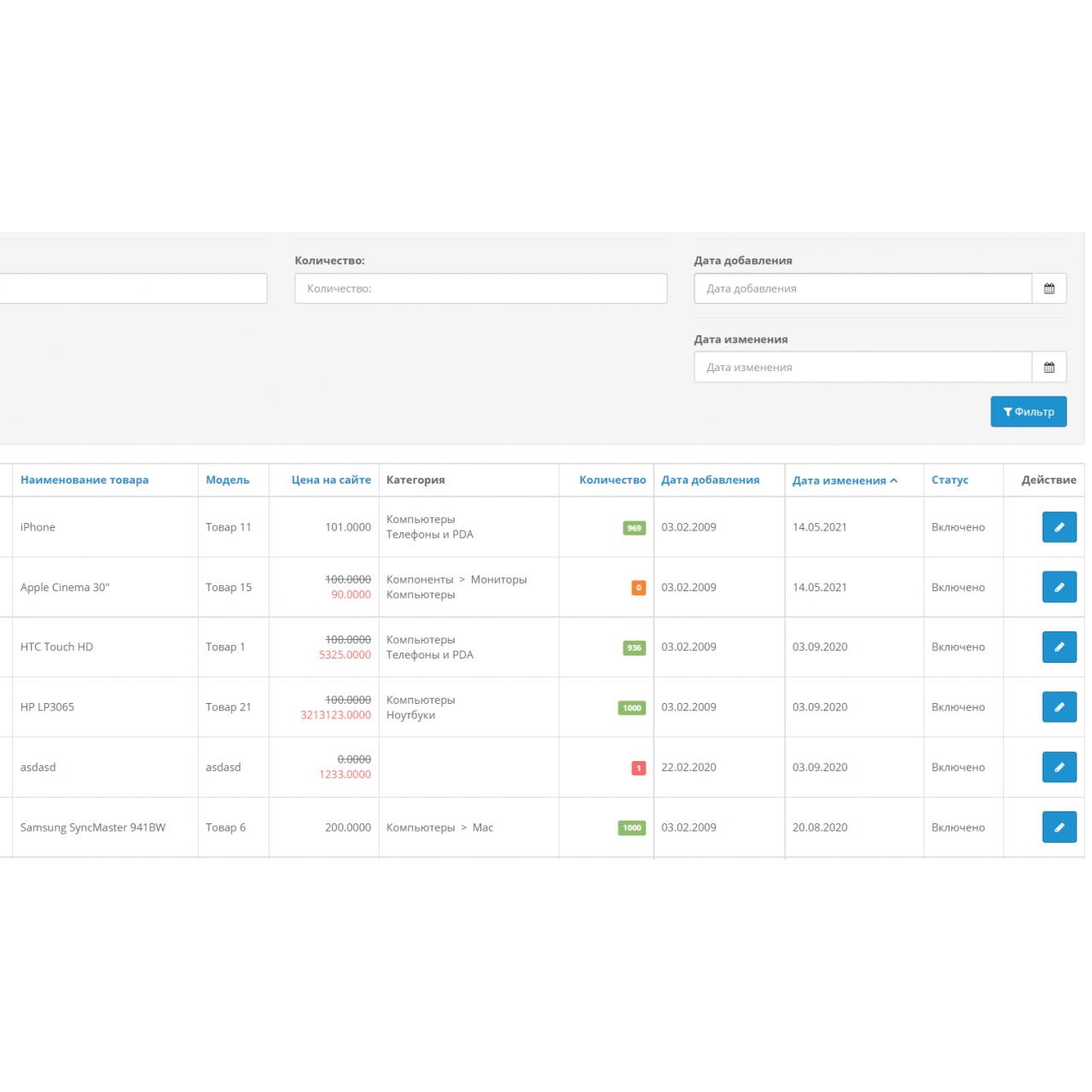 Фильтр товаров по дате добавления / изменения из категории Админка для CMS OpenCart (ОпенКарт)