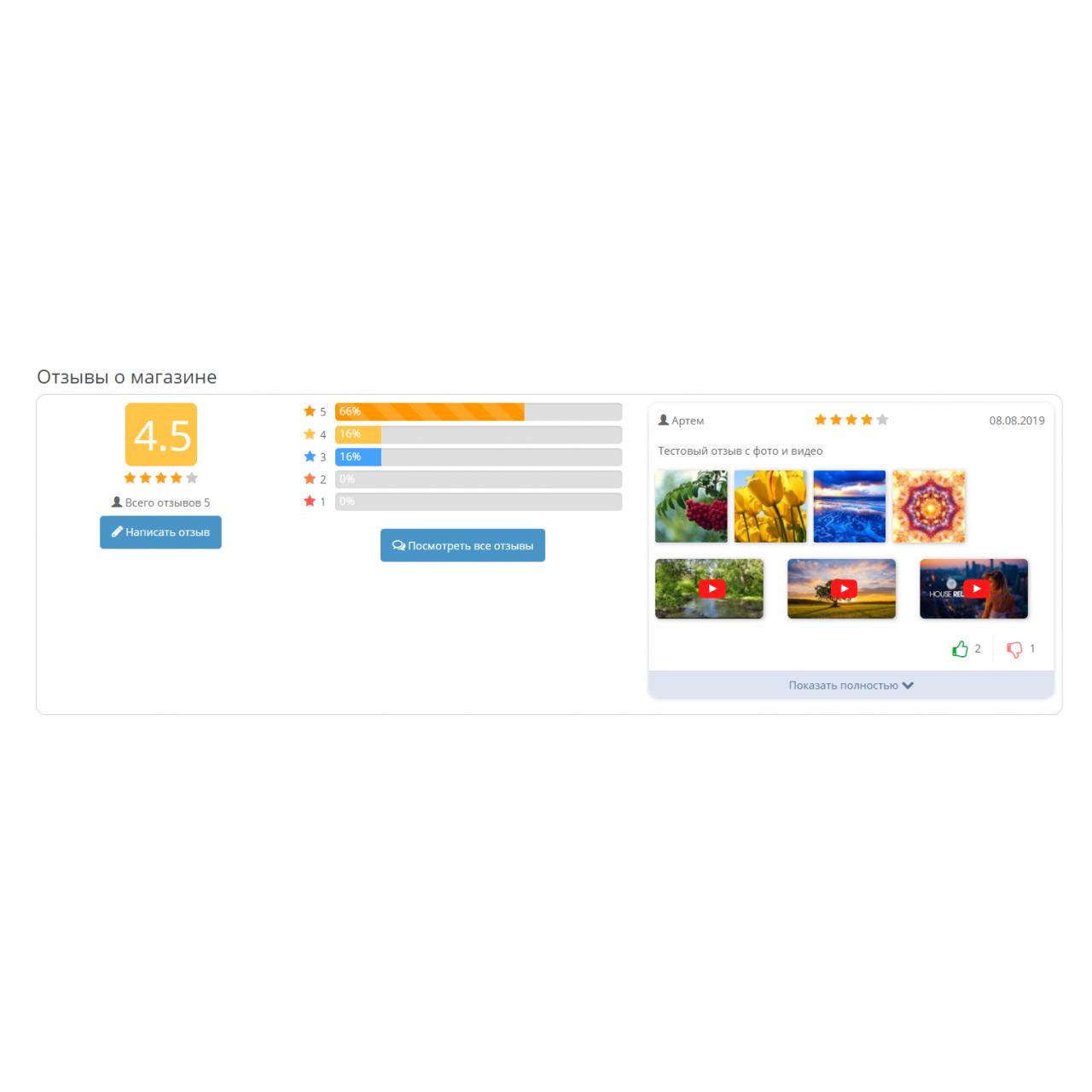 Отзывы о товарах + Отзывы о магазине, с фото и видео, лайками и комментариями + система вознаграждений за отзывы. из категории Социальные сети, отзывы для CMS OpenCart (ОпенКарт)