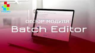 Обзор функционала модуля Batch Editor